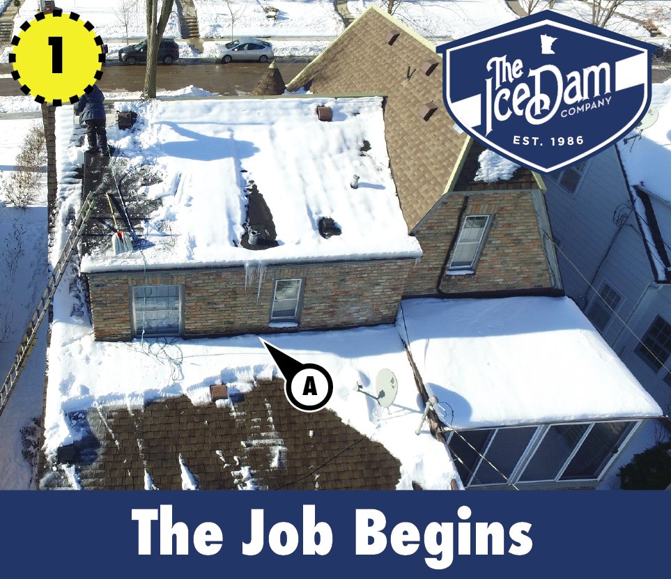 Ice Dam Removal Job Drone Photo Before