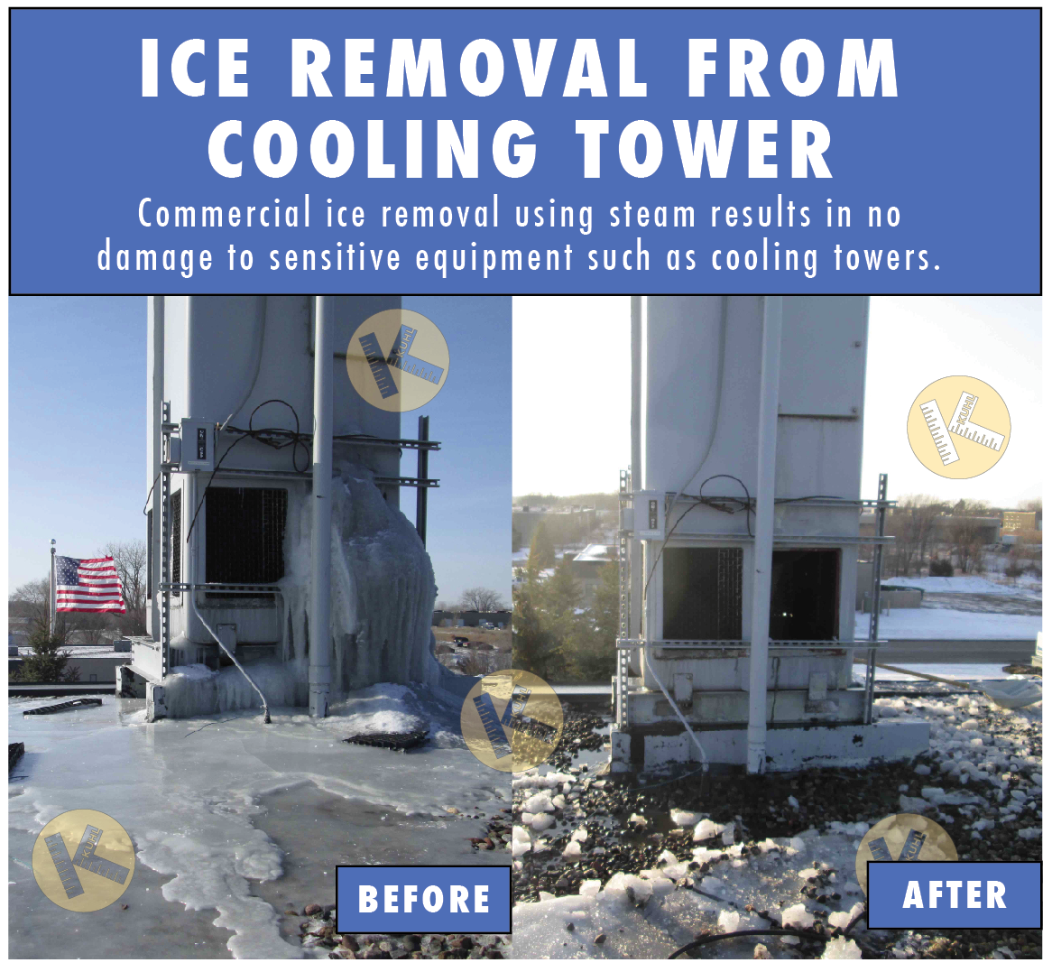 Minneapolis cooling tow commercial ice removal Kuhl Ice Dam Company