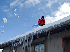 Roof Snow Shoveling - Ice Dam