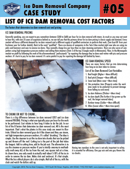 List of Ice Dam Removal Cost Factors